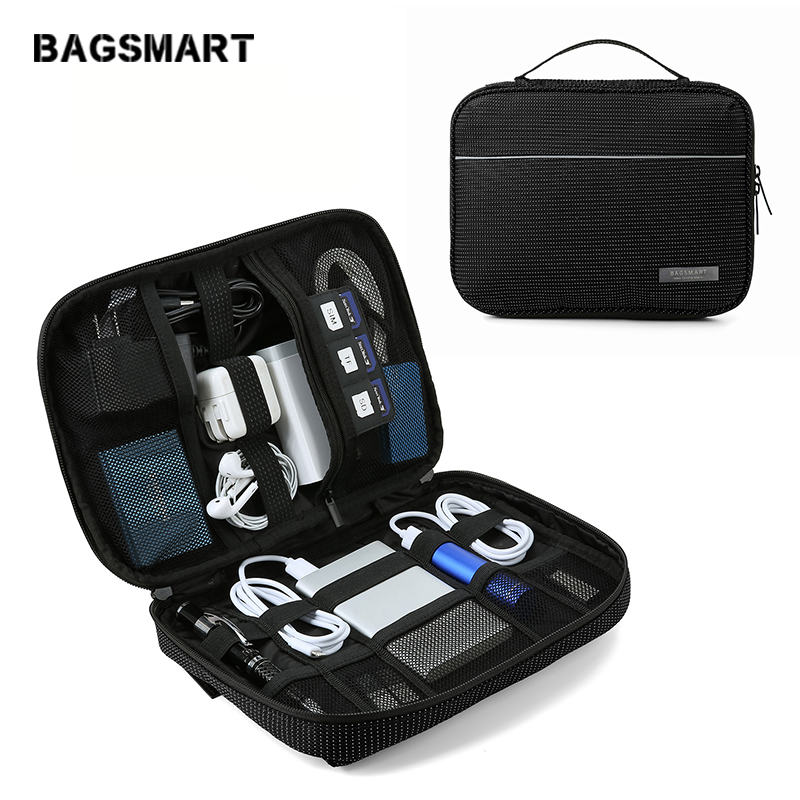 Electronics Accessories Storage Bag Waterproof Electronics Travel Organizer Bag Single Layer Universal Cable Organizer