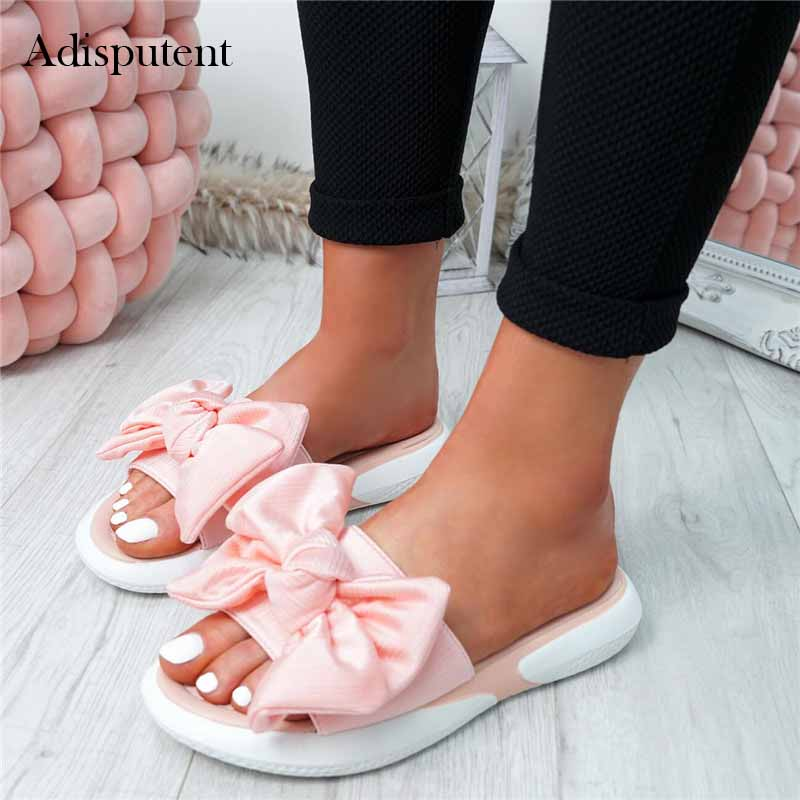 Slippers Girls Soft Heels Women Ladies Bow Flats Sandals Slip On  Peep Toe Casual Shoes Female Sandals Shoes