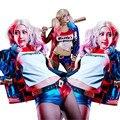 Harley Quinn Cosplay Terno Conjunto Jaqueta Encabeça Calções COS Moda Calções Ternos Traje de Halloween COSPLAY Mulheres Menina PU Jaqueta de Couro