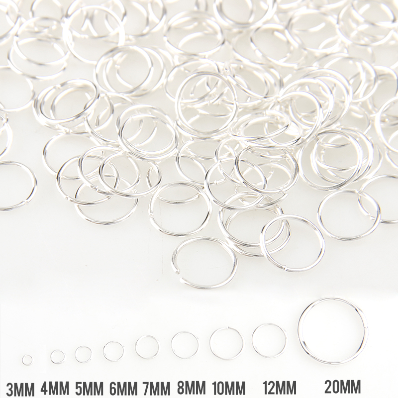 New Silver Mixed Color 3/4/5/6/7/8/10/12/20mm Tone Metal Open Jump Rings Necklace Close Tool Ring DIY Jewelry Making