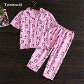 Women Sleepwear Summer Woven Cotton Pajama Set Short-Sleeve Capris Calf Trousers Sleep Thin Pink Pyjamas Set
