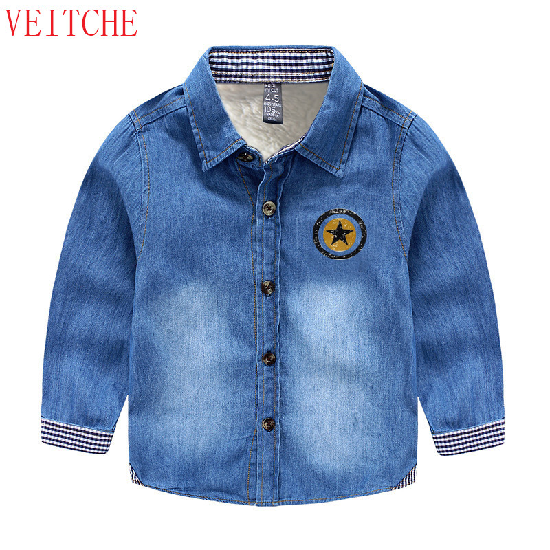 Boys Denim long sleeve Kids thicken wool winter warm shirts chemise - Children's Clothing - Photo 1