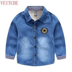 Garçons Denim manches longues enfants épaissir laine hiver chaud chemises chemise chemise garcon de marque camisas chicos kinder camisa menino