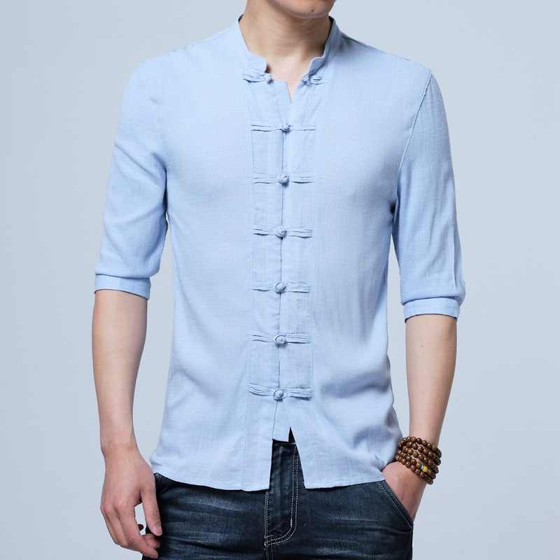 Tradictional 中国服男性ハーフスリーブ中国風シャツカンフー太極拳唐スーツスタイルトップス CN-026