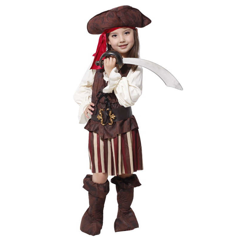 Halloween Kids Children Girls Pirates of the Caribbean Cosplay Costumes Set Party Dress Suits(does not include weapons)
