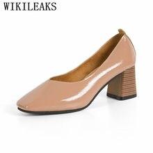 f5853cc78 Nova couro envernizado mulher bombas sexy sapatos de salto alto calcanhar  quadrado sapatos de grife das mulheres de luxo 2018 de.