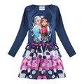 Elsa muchachas del vestido de ropa de niñas niños ropa casual nova niños ropa de primavera/otoño vestido de la princesa para las niñas h5372