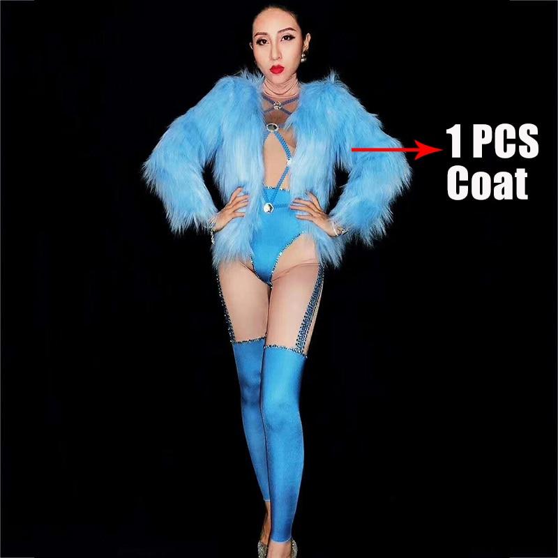 DJ Costume body pour femmes Sexy bleu tenue fête bal Costume scène porter danse discothèque chanteur danse porter barboteuses DJ191