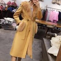 100% real fur women genuine sheep fur fox fur coat with hoody two wear slim ladies elegant fashion natural fox fur vest inside
