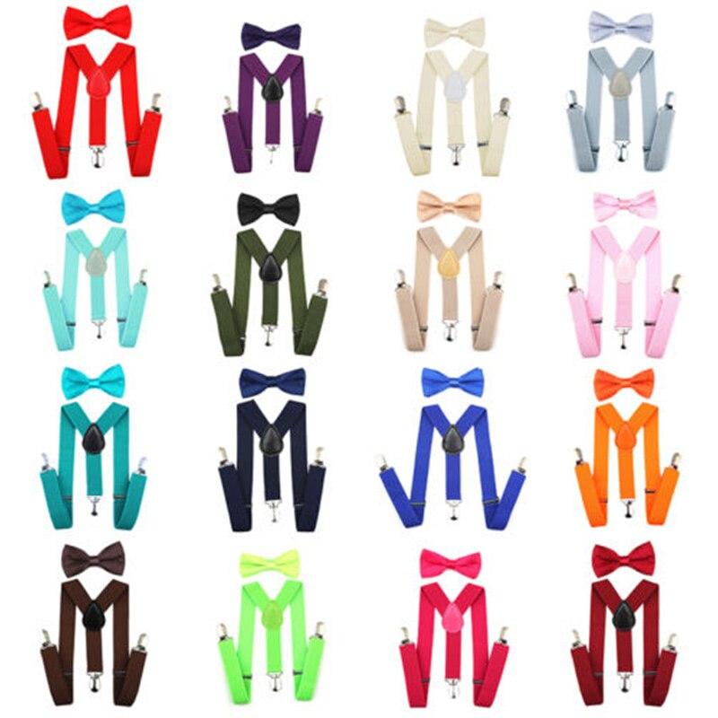 Регулируемая мода мальчиков хлопчатобумажный галстук вечерние галстуки подарок высокое качество для маленьких мальчиков малышей бабочка галстук-бабочка+ на подтяжках комплект одноцветное Цвет
