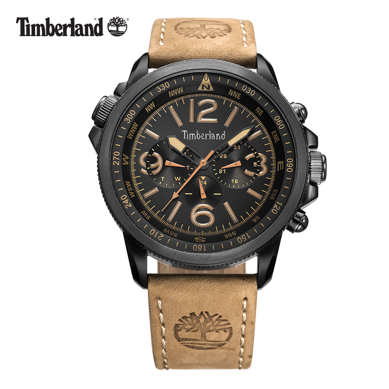 Timberland Mens Watches Leather Casual Quartz Multi-function Calendar Waterproof T13910 Watches