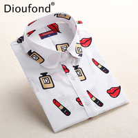 Dioufond White Navy Lips Print Women Blouses Long Sleeve Ladies Office Blouse Shirt Casual Button Down