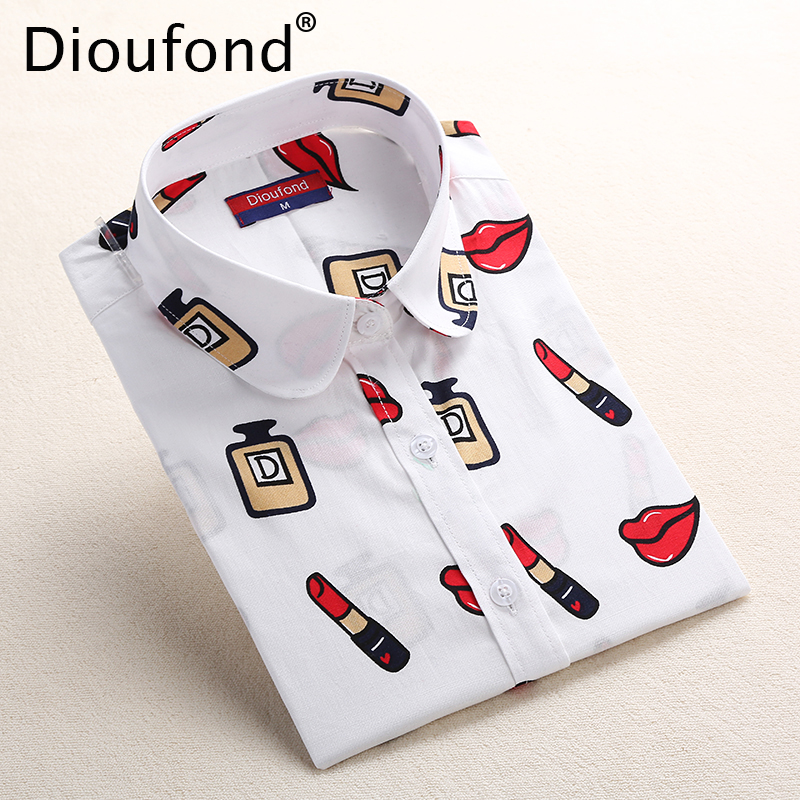 Dioufond White Navy Bibs Cetak Blus Wanita Long Sleeve Ladies Office Blouse Shirt Kasual Button Down Blusa 2017 Spring