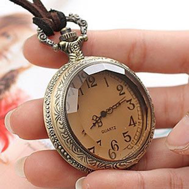 Vintage Royal Coffee Color Specular Sweater Chain,Antique Pocket Watch Necklace  N269