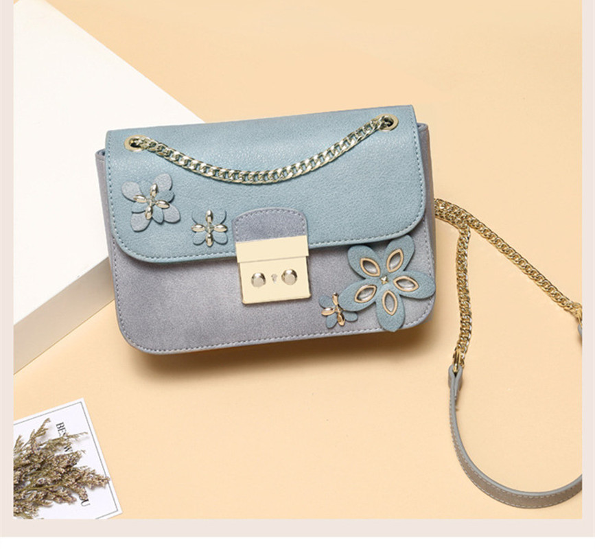 DOODOO Brand female bag shoulder ladies Bag Wome PU leather handbag 2018 Vintage flower bags handbags chain flap bolsos D616