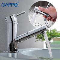 Gappo Deck Mounted Basin Faucet Single Handle Pull Out Outlet Pipe Cold And Hot Water Mixer