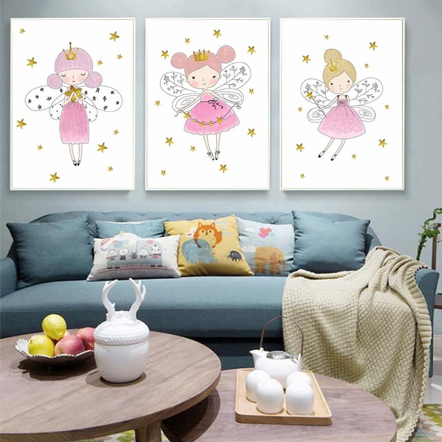 Cartoon Crown Girl Canvas Painting Nordic Art Poster Nursery Wall