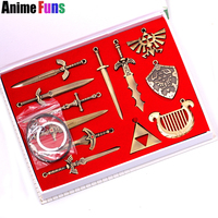 12pcs/set The Legend of Zelda Skyward Sword Choker Necklace Weapon Pendant Keyring Keychain With Box Charm Jewelry Drop Shipping