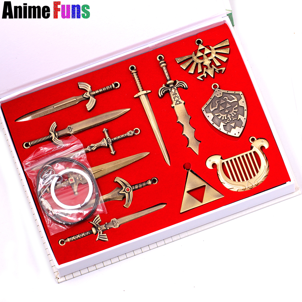 12pcs/set The Legend of Zelda Skyward Sword Choker Necklace Weapon Pendant Keyring Keychain With Box Charm Jewelry Drop Shipping колготки philippe matignon oro размер 4 плотность 20 den playa nature page 4