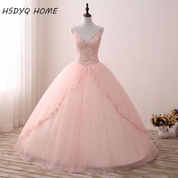 Real Photos Pink Vestidos De 15 Anos V Neck Ball Gown Quinceanera Dresses Sexy Prom Gowns