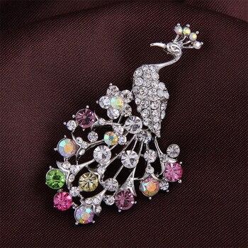 LNRRABC-broche de pavo real con diamantes de imitación para mujer y niña,...