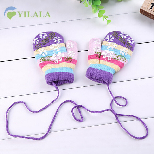 46d1075db Snowflake Winter Baby Glove Warm Knitted Toddler Mittens Cotton ...
