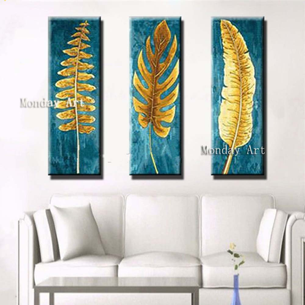 3-Panel-Beautiful-Canvas-Painting-Knife-Gold-Leafs-Pictures-Hand-Painted-Abstract-Blue-Oil-Paintings-Modern