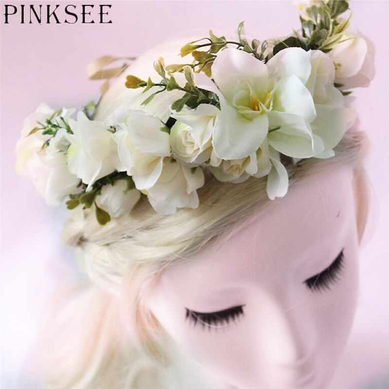 PINKSEE свадебный стиль Моделирование цветок повязка на голову пляж путешествия фото реквизит женские аксессуары для волос