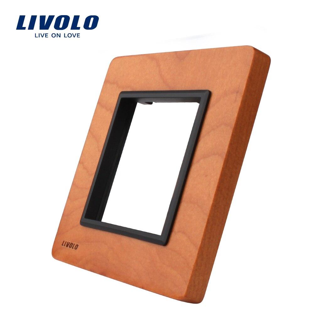 Panel de madera de cerezo de lujo Livolo, 80mm * 80mm, pieza de toma de interruptor estándar de la UE, Panel de madera de cerezo simple, VL-C7-SR-21