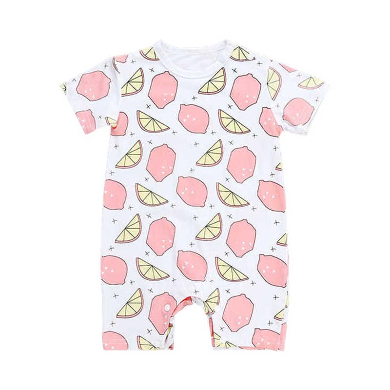 아기 rompers 과일 레몬 여름 옷 짧은 소매 유아 bebe romper 면화 신생아 아기 소년 점프 슈트 키즈 소프트 오버올