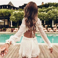 White Silk Playsuit Women Backless Hollow Out Sexy Jumpsuit Long Sleeve Summer Holiday Short Body combinaison femme