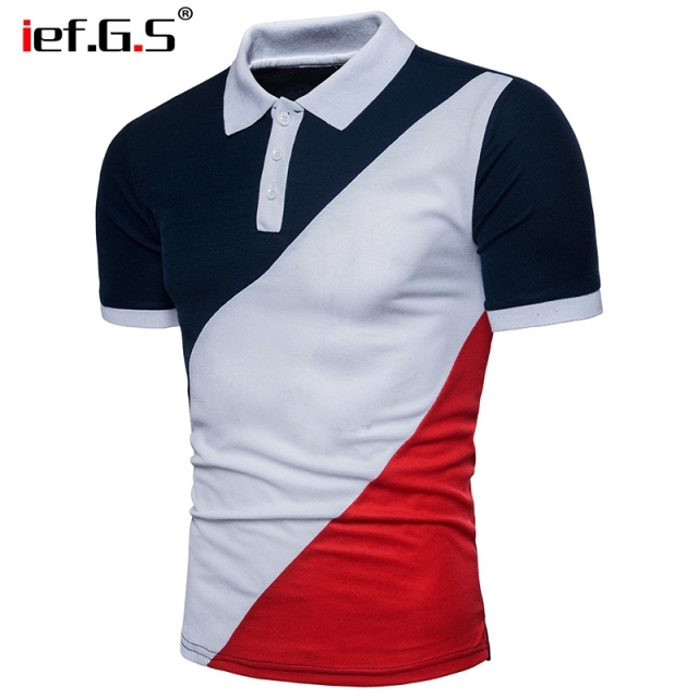 IEF.G.S 2018 New Fashion Brand Men Polo Shirt stripe Short-Sleeve Slim Fit Polo Mens Geometric irregularity Casual Poloshirts