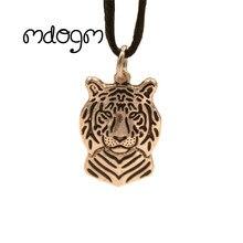 Крутое ожерелье с подвеской в виде тигра, античное Ретро Позолоченное серебряное ювелирное изделие для женщин, мужчин, женщин, девушек, девушек, детей, мальчиков
