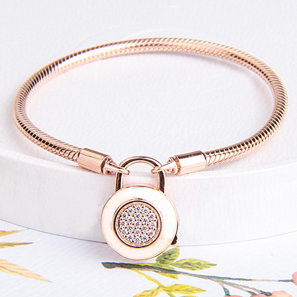 Rose Logo Signature Padlock Smooth Snake Bracelet Bangle Fit Bead Charm DIY Europe Jewelry 925 Sterling Silver Bracelet 925 sterling silver pan rose gold hollow crown set clear cz fit smooth signature padlock women bangle bead charm diy jewelry