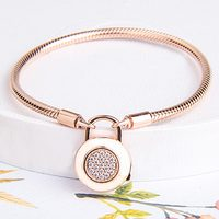 Rose Logo Signature Padlock Smooth Snake Bracelet Bangle Fit Bead Charm DIY Pandora Jewelry 925 Sterling Silver Bracelet