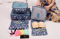 6pcs Set Luggage Organizer Nylon Mesh Net Storage Travel Partition Packing Leopard Waterproof Underwear Clothes Bra
