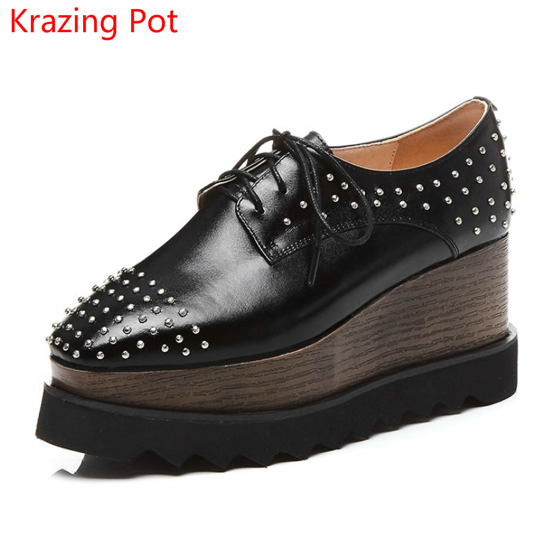 Handmade Big Size Genuine Leather Square Toe Lace Up Platform Rivets Decoration Sneaker Wedges Increased Women Casual Shoes L56 цены онлайн