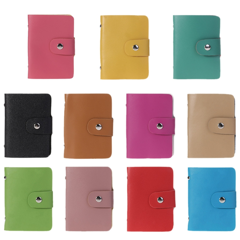 Women PU Leather Pocket Business ID Credit Card Holder Case Wallet For 24 Card