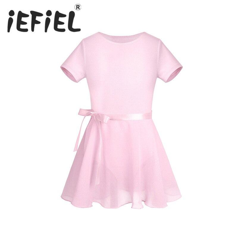 IEFiEL Children Girls Gymnastic Ballet Leotard Tutu Dance Dress Girls Princess Ballerina Performance Dresses With Chiffon Skirt