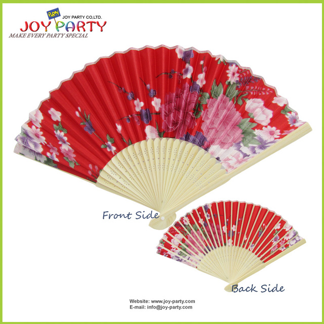 US $17 31 26% OFF|10 pcs/lot 21cm Red color Floral Fabric Hand Fan Summer  Wedding Decoration Promotion Gifts Ladies Favor-in Party Favors from Home &