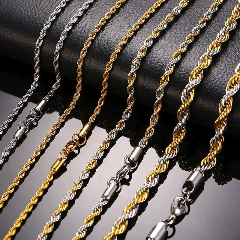 4MM TWIST WAVE NECKLACE CHAIN GRADE AAA MAN UK 18K GOLD FILLED 20 INCH 50cm