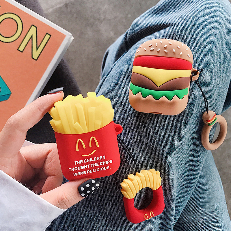 Hamburger Fries AirPods2 Headset Set Silicone Case for iphone Wireless Bluetooth