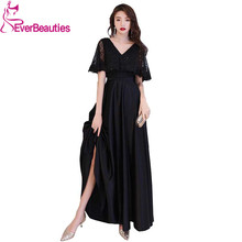 Black Elegant Satin Lace Evening Dresses Long V Neck Gowns Party Formal Robe De Soiree