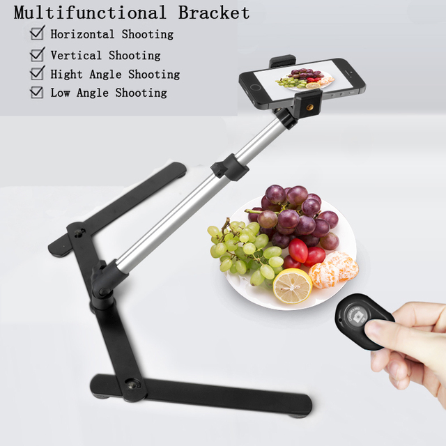 Photography Adjustable Table Top Stand Shooting Set Mini Monopod+Phone Clip Fill-in Light Bluetooth Control 2 Set for Choosing