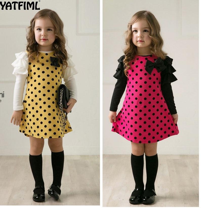YATFIML Baby Girl Dress long sleeve kids dresses for girls Clothes children clothing Kids Clothes winter Party Nova Girls Dress