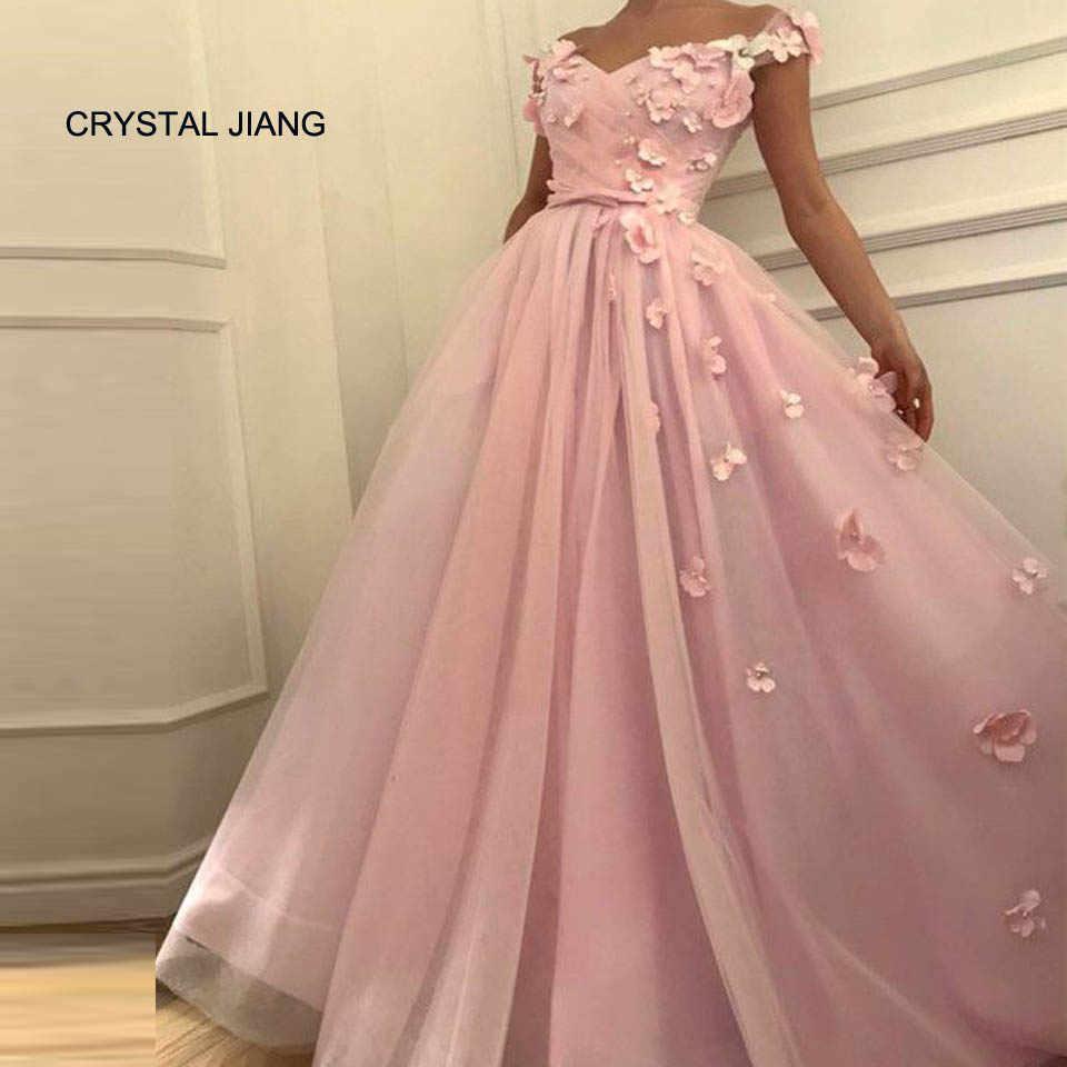3319f0ba771 Кристалл Цзян Vestido Longo де Festa A-Line Розовые цветы v-образным  вырезом с