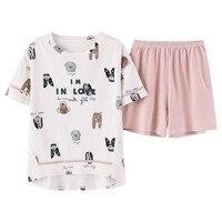 Summer Cotton Cute Dog Print Top + Pink Sleeping Pajamas Women Round Neck Short Sleeves Sleep Tops Elastic Waist Shorts Loose