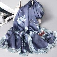 Japoński wzór nowy jedwab szalik kobiety szal Wrap elegancki prezent dla pani kwiatowy Pashmina naturalny jedwab szalik fular 1 PC4
