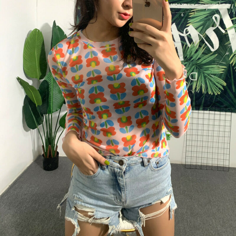 <font><b>Harajuku</b></font> <font><b>Summer</b></font> Fashion <font><b>Womens</b></font> Green Short <font><b>T</b></font>-<font><b>Shirt</b></font> Mesh Sheer Crop Tops <font><b>Flower</b></font> Print Short Sleeve <font><b>T</b></font> <font><b>Shirt</b></font> koszulki damskie <font><b>2019</b></font> image
