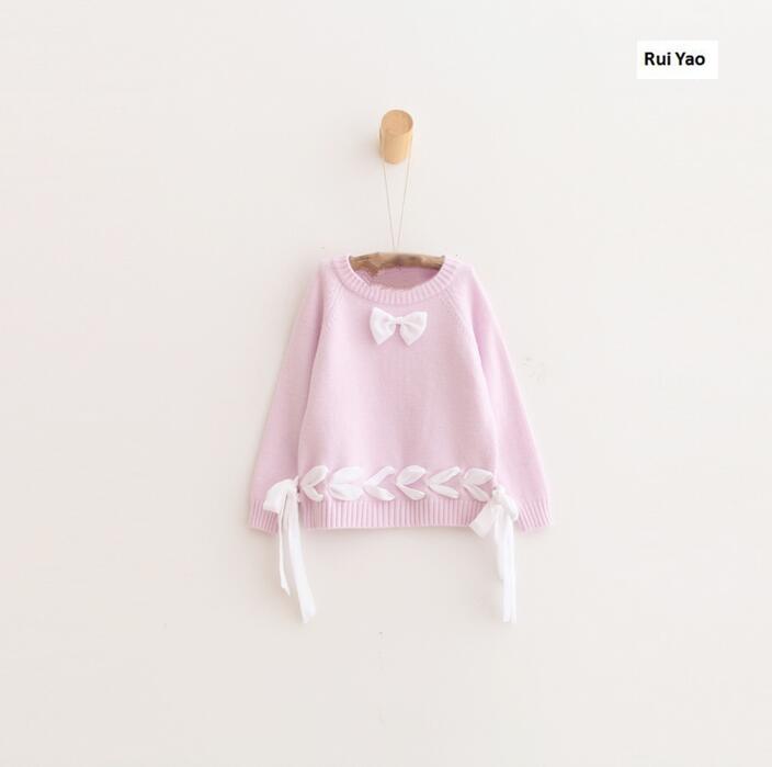 ⑦Ybl31155842 2018 moda Niñas suéter sólido del arco del niño de la ...